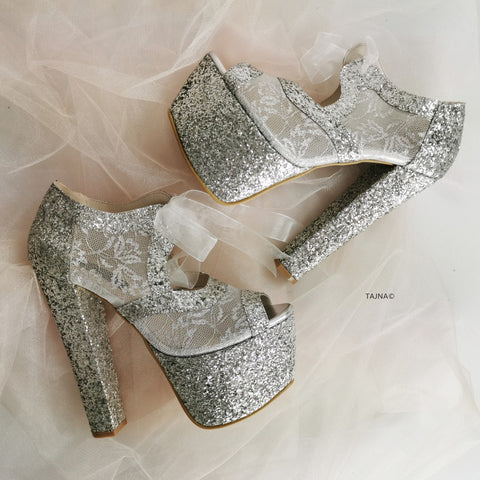 Silver Shimmer Wedding Platform - Tajna Club