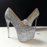 Silver Glitter Transparent Heel Pumps - Tajna Club