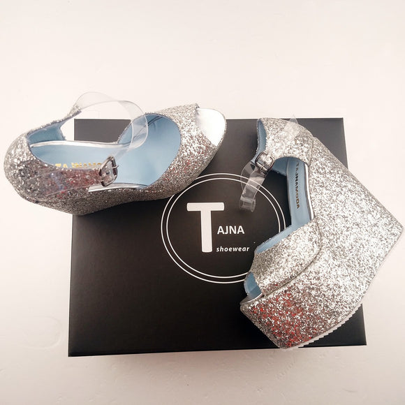 Silver Shiny Transparent Strap High Heel Wedge Shoes - Tajna Club