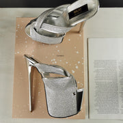 Silver Shimmer High Heel Mules - Tajna Club