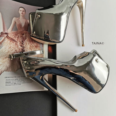 Silver Mirror Ankle Strap Platform Shoes - Tajna Club