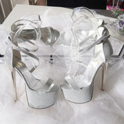 Silver Shine Ankle Strap High Heel Platform Shoes - Tajna Club