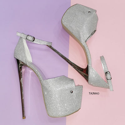 Silver Shiny Shimmer High Heel Sandals - Tajna Club