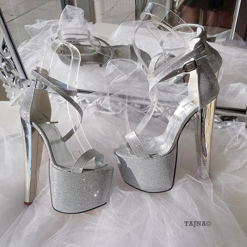 Ankle Strap Silver Shimmer 19 cm High Heel Platform Shoes - Tajna Club