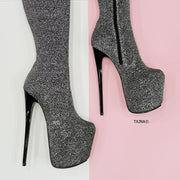 Silver Strech Shiny High Heel Long Boots - Tajna Club