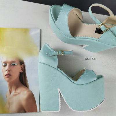 Soft Blue Green Peep Toe Ankle Wedges - Tajna Club