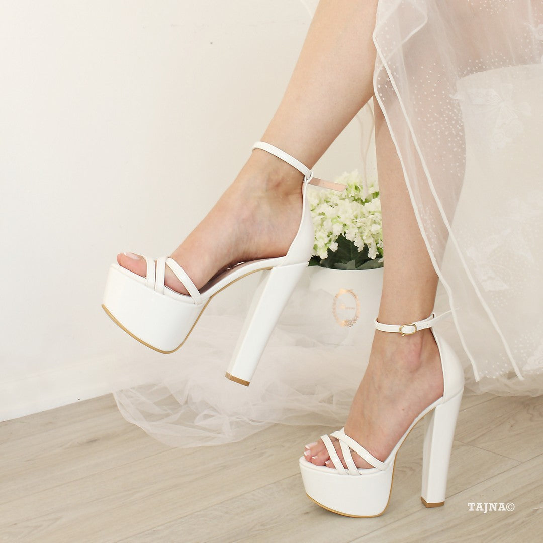 Wedding Bridal Heels: Cross Strap Bridal White Platform Shoes