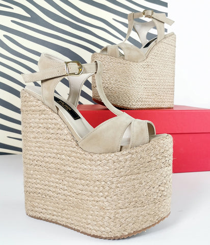 Espadril Beige Platform Wedge Sandals - Tajna Club