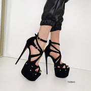 Black Suede Cage Ankle High Heels - Tajna Club