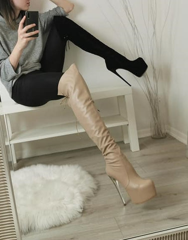 Nude Beige Matte Knee High Boots - Tajna Club