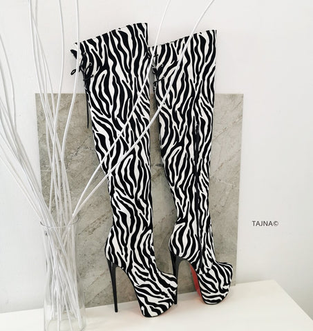 Zebra Design Over Knee High Heel Boots - Tajna Club