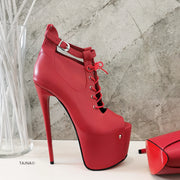 Red Peep Toe Designer Ankle Platforms - Tajna Club