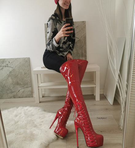 Patent Red Corset Knee High Platform Boots - Tajna Club