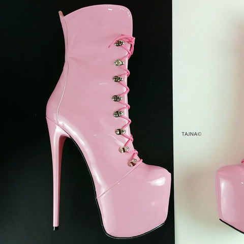 Pink Patent Military Style Ankle Boots - Tajna Club