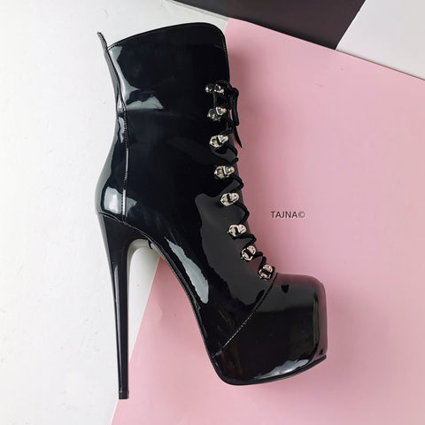 Black Patent Military Style Ankle Boots - Tajna Club