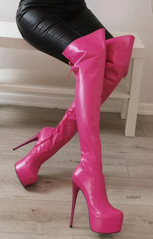 Pink Matte Over The Knee High Boots