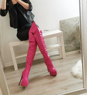 Pink Matte Over The Knee High Boots - Tajna Club