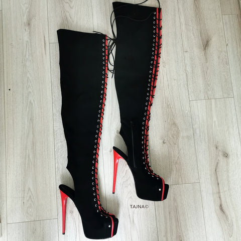 Gladiator Black Red Knee High Boots - Tajna Club