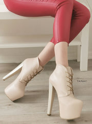 Ledna Nude Cream Lace Up Booties - Tajna Club