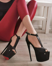 Black T Strap Peep Toe Platform Pumps - Tajna Club