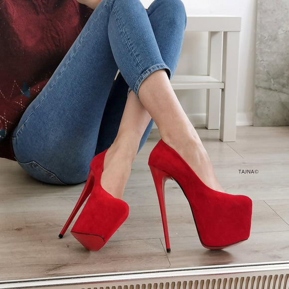 Classic Red Suede High Heels - Tajna Club