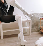 White Patent Strech Knee High Boots - Tajna Club