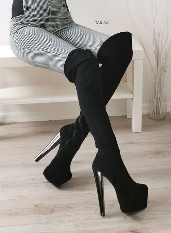 Black High Heel Over the Knee Boots - Tajna Club