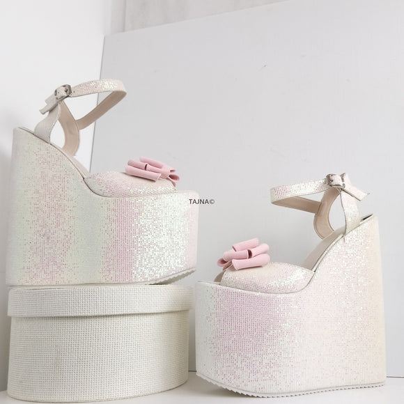 Shiny Ribbon High Heel Wedding Wedges - Tajna Club