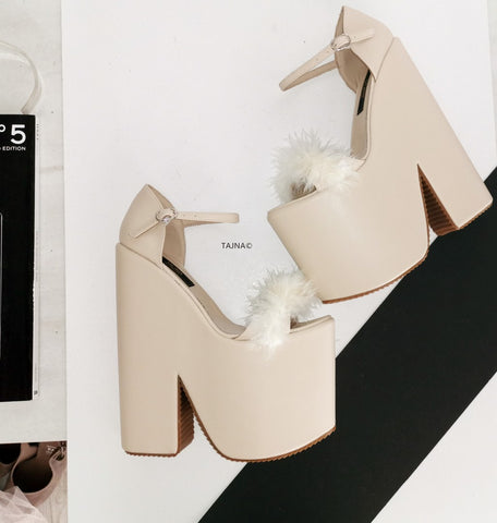 Cream Fury High Heel Wedges - Tajna Club