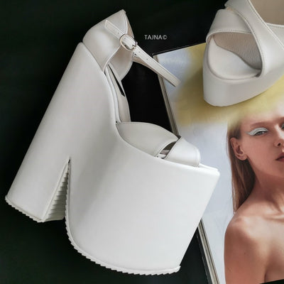 White Extreme Heel Strap Wedge Shoes - Tajna Club