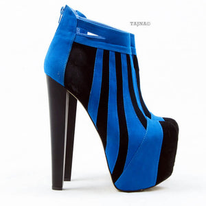 Blue Black Stripe Ankle Platform Booties - Tajna Club