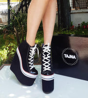 Super High Heel Convers Style Lace-Up Wedges - Tajna Club