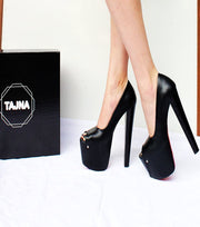 Black Peep Toe Chunky High Heel Platform Shoes 19 cm - Tajna Club
