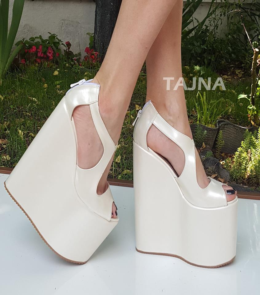 Ivory White Super High Heel Bridal Wedges