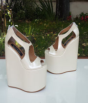 Ivory White Super High Heel Bridal Wedges - Tajna Club