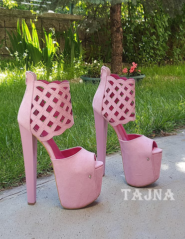 Pink Suede Lazer Cut  High Heel Booties - Tajna Club