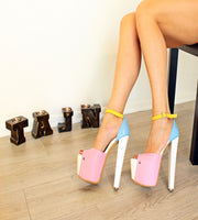 Three Colour Ankle Strap Peep Toe Platform Shoes - Tajna Club