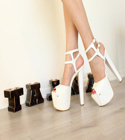 White Double Ankle Strap Platforms - Tajna Club