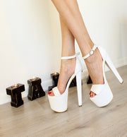 White Peep-Toe Ankle Strap Wedding Shoes - Tajna Club