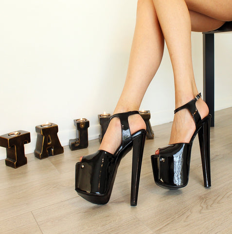 Black Patent Leather Peep Toe Ankle Strap Shoes - Tajna Club