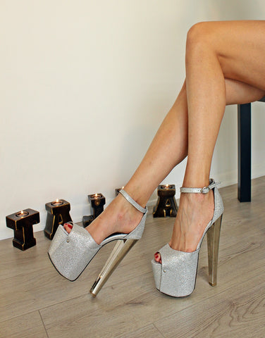 Silver Shimmer  High Heel Women Shoes - Tajna Club