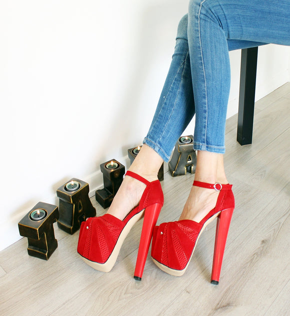 Red Fillet Peep Toe Ankle Strap 19 cm High Heels - Tajna Club