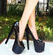 Black Patent Peep Toe 19 cm  High Heel Shoes - Tajna Club