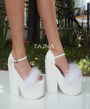 Furry 18 cm High Heel Bridal Shoes - Tajna Club