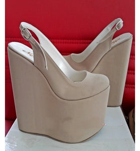 Wedged Nude Color Platform High Heel Shoes - Tajna Club