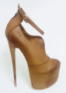 Light Brown Ankle Strap Booties - Tajna Club