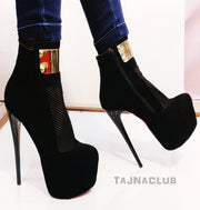 Black Platform Boots with Perforated Front - Tajna Club