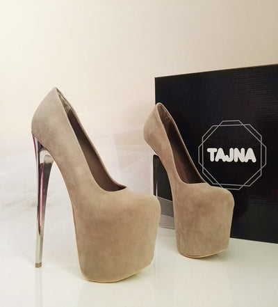 Nude Cream Platforms with Metallic Heels - Tajna Club