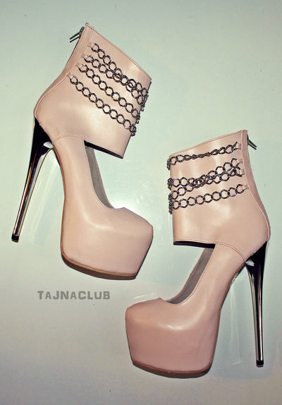 Metal Chained Powder Open Booties - Tajna Club