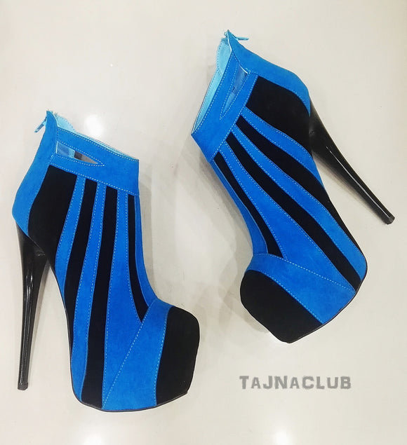 Blue Zipper Back Platform Ankle Boots - Tajna Club